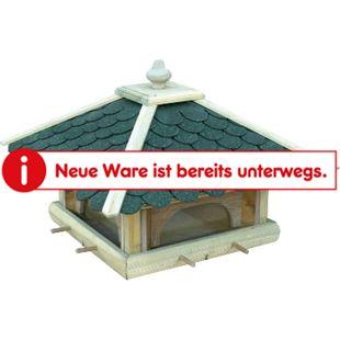 Dobar Futterhaus mit grünen Bitumenschindeln, Anflugstangen, 4 Futterbehälter - Bild 1