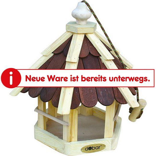 Dobar Futterhaus mit lasierten Holzschindeln (braun), Spitzdach, inkl. Kordel - Bild 1