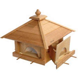"""Großes Eiche-Vogelfutterhaus """"4 Schubladen"""" mit Silo und Anflugstangen 49x49x39 - Bild 1"""