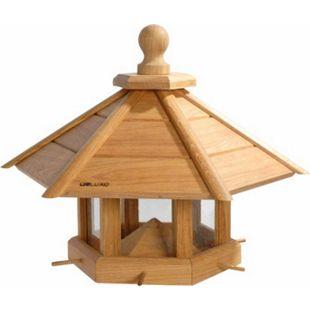 """Sehr großes Eiche Vogelhaus """"Anflug"""", geöltes Eichenholz mit Futtersilo/Anflugstangen 55x62x43 - Bild 1"""