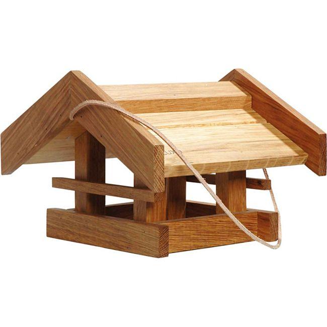 """Solides Eiche-Vogelfutterhaus """"Basis"""" mit Lederkordel 31x28x20 - Bild 1"""