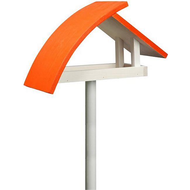 """Design-Vogelfutterhaus """"New Wave"""" in weiß mit orangenem Dach, inkl. Ständer - Bild 1"""