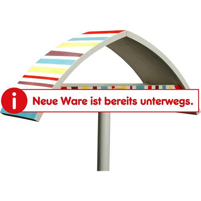 """Design-Vogelfutterhaus """"New Wave"""" in weiß mit bunt gestreiftem Dach, inkl. Ständer - Bild 1"""