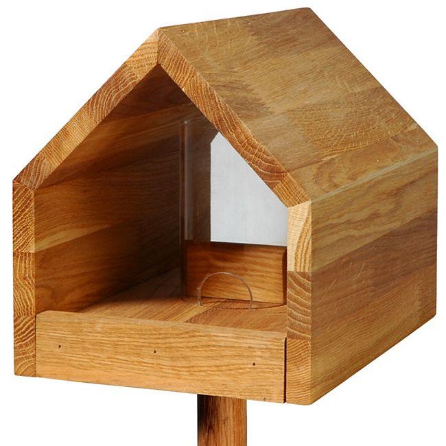 Futterhaus aus Eichenholz mit Acrylglassilo und Kordel - Bild 1