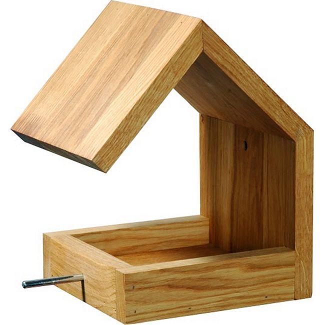Eiche-Futterhaus mit Satteldach und Anflugstange - Bild 1