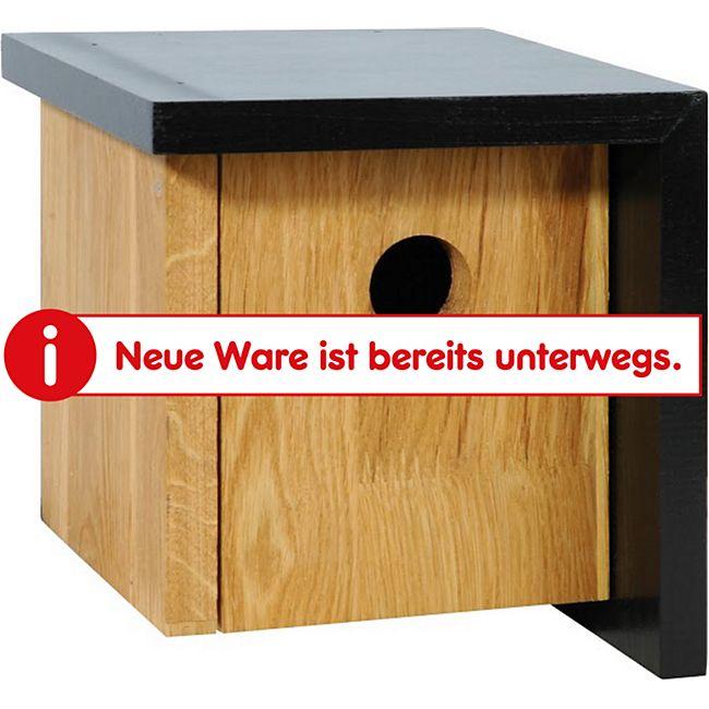 Quadratischer Nistkasten aus Eichenholz u. asymetrischem schwarzen Dach - Bild 1