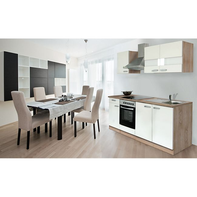 Respekta Küchenzeile KB210ESWC 210 cm Weiß-Eiche Sägerau Nachbildung - Bild 1