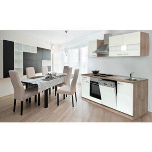 Respekta Küchenzeile KB220ESW 220 cm Weiß-Eiche Sägerau Nachbildung - Bild 1