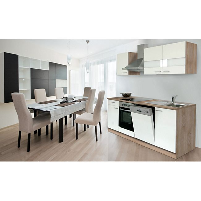 Respekta Küchenzeile KB220ESWC 220 cm Weiß-Eiche Sägerau Nachbildung - Bild 1