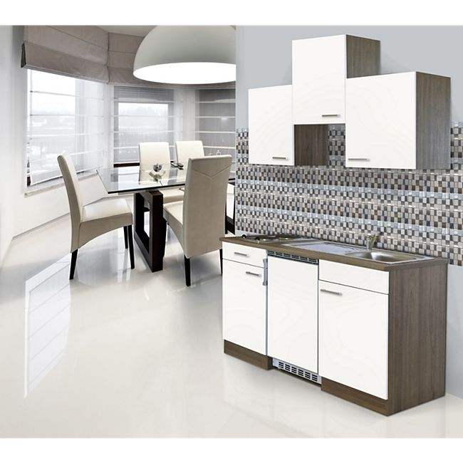 Respekta Küchenzeile KB150EYW 150 cm Weiß-Eiche York Nachbildung - Bild 1