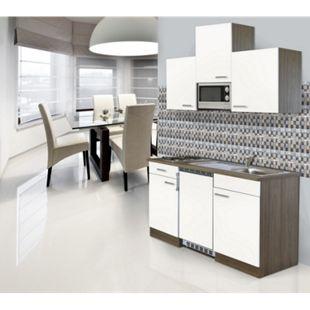 Respekta Küchenzeile KB150EYWMI 150 cm Weiß-Eiche York Nachbildung - Bild 1