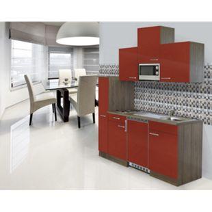 Respekta Küchenzeile KB180EYRMIC 180 cm Rot-Eiche York Nachbildung - Bild 1