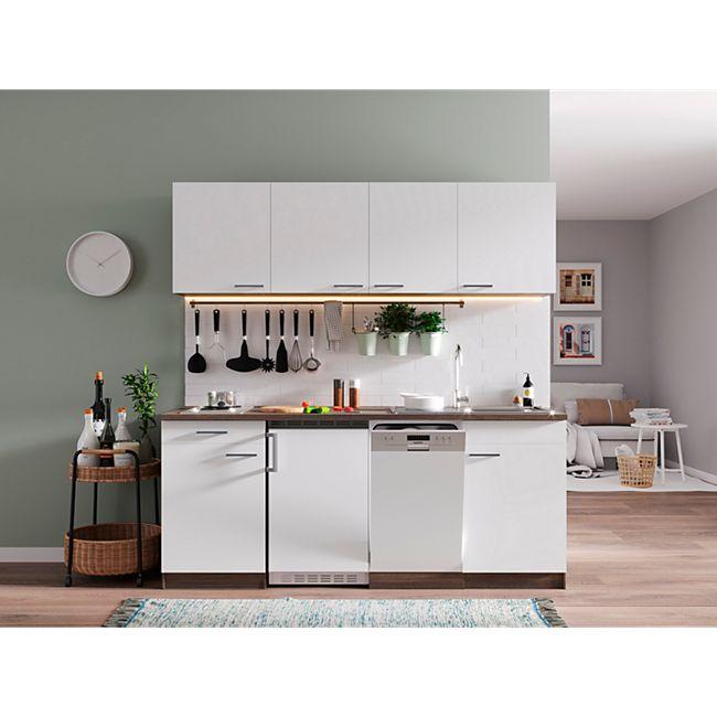 Respekta Küchenzeile KB195EYW 195 cm Weiß-Eiche York Nachbildung - Bild 1