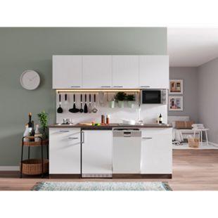 Respekta Küchenzeile KB195EYWMI 195 cm Weiß-Eiche York Nachbildung - Bild 1