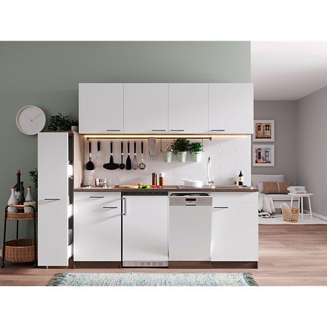 Respekta Küchenzeile KB225EYWC 225 cm Weiß-Eiche York Nachbildung - Bild 1