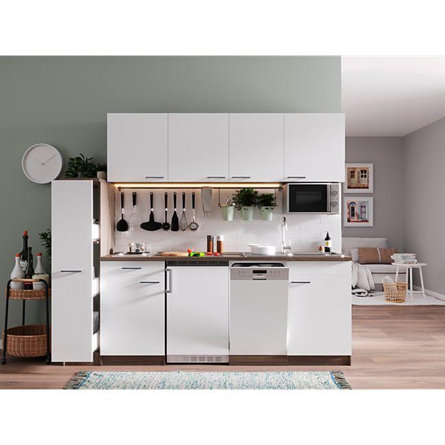 Respekta Küchenzeile KB225EYWMI 225 cm Weiß-Eiche York Nachbildung - Bild 1