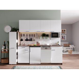 Respekta Küchenzeile KB225EYWMIC 225 cm Weiß-Eiche York Nachbildung - Bild 1