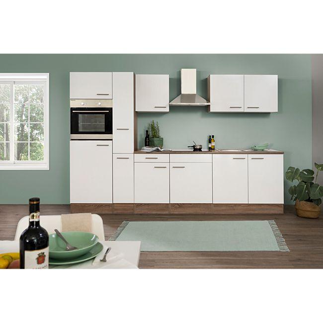 Respekta Küchenzeile KB300EYW 300 cm Weiß-Eiche York Nachbildung - Bild 1