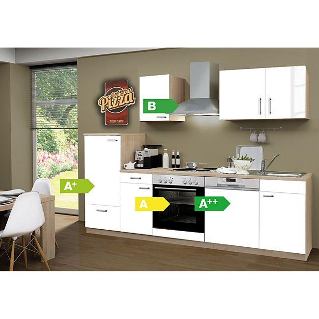 Menke Küchen Küchenzeile Classic 270 cm inkl. Geschirrspüler weiß - 4 Platten Kochfeld - Bild 1