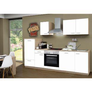 Menke Küchen Küchenzeile Classic 270 cm inkl. Geschirrspüler weiß - Glaskeramikkochfeld - Bild 1