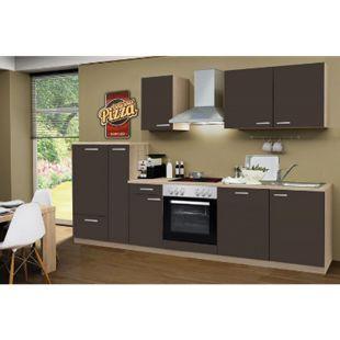 Menke Küchen Küchenzeile Classic 300 cm inkl. Geschirrspüler Lava-Matt - Glaskeramikkochfeld - Bild 1