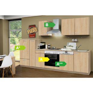 Menke Küchen Küchenzeile Classic 300 cm inkl. Geschirrspüler Sonoma Eiche Nachb. - 4 Platten Kochfeld - Bild 1