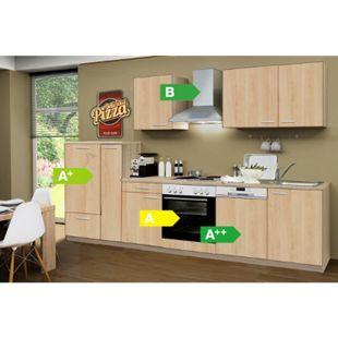 Menke Küchen Küchenzeile Classic 310 cm Sonoma Eiche Nachbildung - 4 Platten Kochfeld - Bild 1