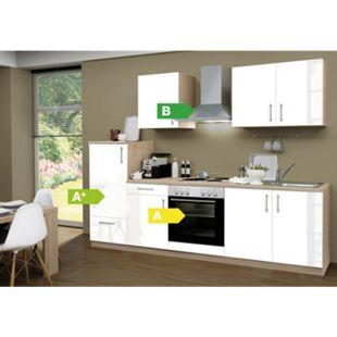 Menke Küchen Küchenzeile Premium Lack 270 cm weiß - 4 Platten Kochfeld - Bild 1