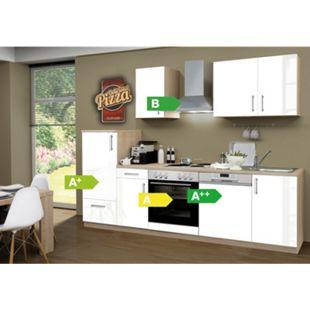 Menke Küchen Küchenzeile Premium Lack 270 cm inkl. Geschirrspüler weiß - 4 Platten Kochfeld - Bild 1