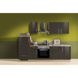 Menke Küchen Küchenzeile Premium Lack 270 cm inkl. Geschirrspüler Lava - Glaskeramikkochfeld - Bild 1
