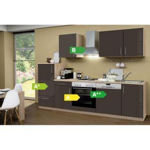 Menke Küchen Küchenzeile Premium Lack 280 cm Lava - 4 Platten Kochfeld - Bild 1