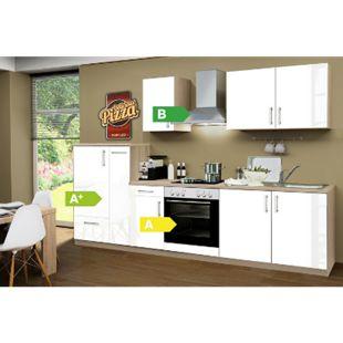 Menke Küchen Küchenzeile Premium Lack 300 cm weiß - 4 Platten Kochfeld - Bild 1