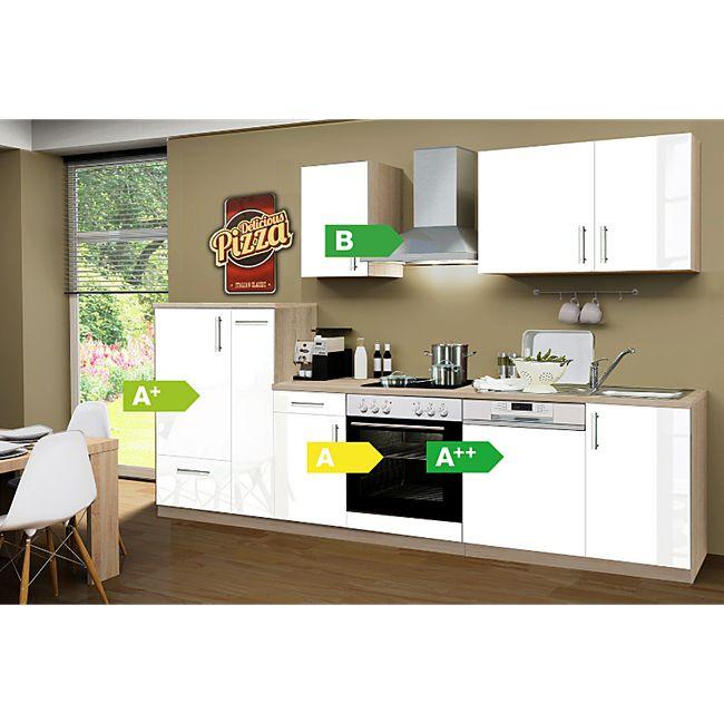 Menke Küchen Küchenzeile Premium Lack 300 cm inkl. Geschirrspüler weiß - 4 Platten Kochfeld - Bild 1