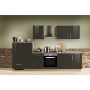 Menke Küchen Küchenzeile Premium Lack 300 cm inkl. Geschirrspüler Lava - Glaskeramikkochfeld - Bild 1