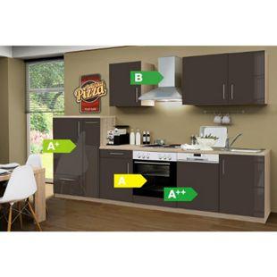 Menke Küchen Küchenzeile Premium Lack 310 cm Lava - 4 Platten Kochfeld - Bild 1