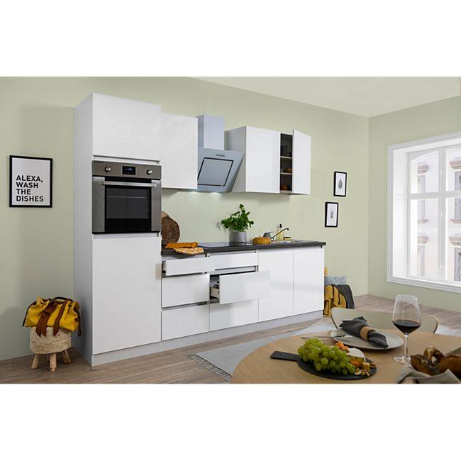 Respekta Premium grifflose Küchenzeile GLRP270HWW 270 cm Weiß HG-Weiß - Bild 1