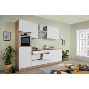 Respekta Premium grifflose Küchenzeile GLRP270HESW 270 cm Weiß HG-Eiche Sonoma sägerau Nachb. - Bild 1