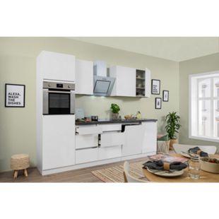 Respekta Premium grifflose Küchenzeile GLRP280HWW 280 cm Weiß HG-Weiß - Bild 1