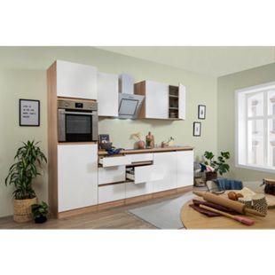 Respekta Premium grifflose Küchenzeile GLRP280HESW 280 cm Weiß HG-Eiche Sonoma sägerau Nachb. - Bild 1