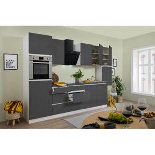 Respekta Premium grifflose Küchenzeile GLRP320HWG 320 cm Grau HG-Weiß - Bild 1