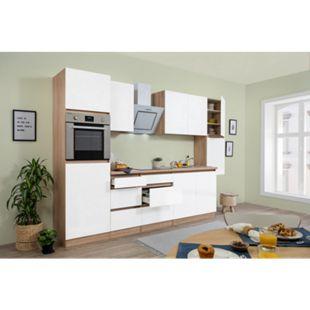Respekta Premium grifflose Küchenzeile GLRP320HESW 320 cm Weiß HG-Eiche Sonoma sägerau Nachb. - Bild 1
