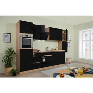 Respekta Premium grifflose Küchenzeile GLRP320HESS 320 cm Schwarz HG-Eiche Sonoma sägerau Nachb. - Bild 1