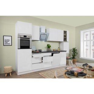 Respekta Premium grifflose Küchenzeile GLRP330HWW 330 cm Weiß HG-Weiß - Bild 1