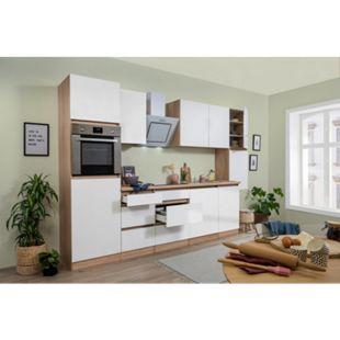 Respekta Premium grifflose Küchenzeile GLRP330HESW 330 cm Weiß HG-Eiche Sonoma sägerau Nachb. - Bild 1