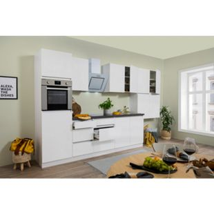 Respekta Premium grifflose Küchenzeile GLRP370HWW 370 cm Weiß HG-Weiß - Bild 1