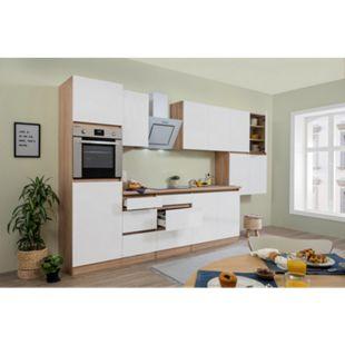 Respekta Premium grifflose Küchenzeile GLRP370HESW 370 cm Weiß HG-Eiche Sonoma sägerau Nachb. - Bild 1