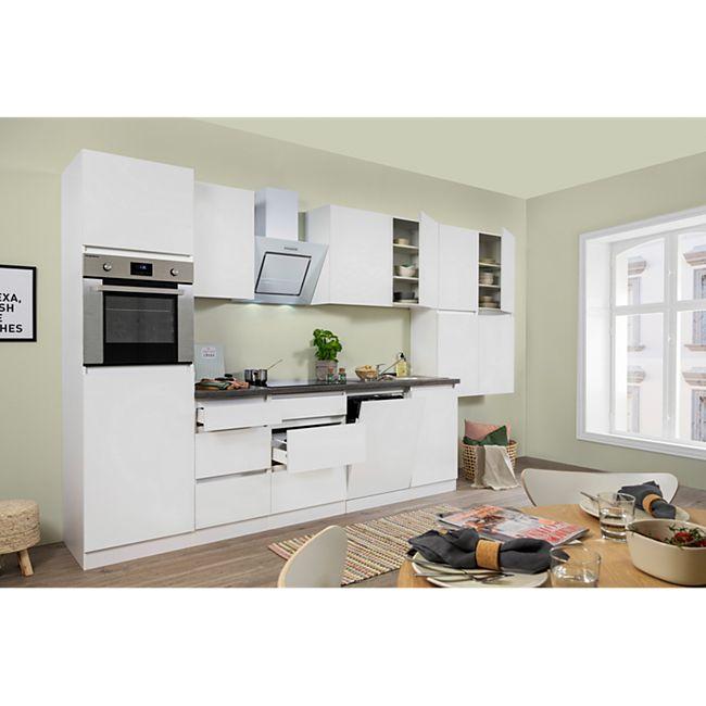 Respekta Premium grifflose Küchenzeile GLRP380HWW 380 cm Weiß HG-Weiß - Bild 1