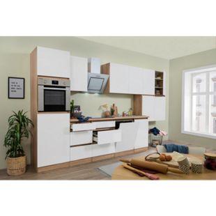 Respekta Premium grifflose Küchenzeile GLRP380HESW 380 cm Weiß HG-Eiche Sonoma sägerau Nachb. - Bild 1