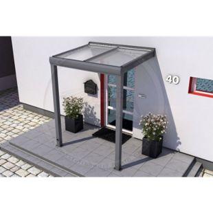 REXOvita Haustür-Vordach 150 x 100 cm anthrazit mit Stegplatten - Bild 1