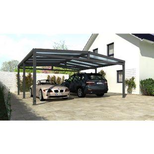 REXOport Alu-Carport 313 x 606 cm anthrazit mit Stegplatten - Bild 1